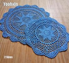 HOT Lace Handmade cotton table place mat pad cloth crochet placemat cup coaster Christmas mug drink tea coffee doily kitchen