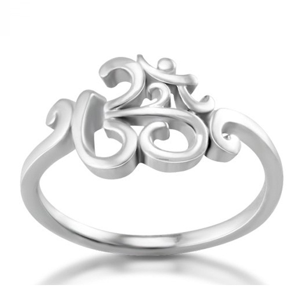 2017 New 925 silver OHM Hindu Buddhist AUM OM Ring Hinduism Yoga India Outdoor Sport Women/Men Ring Religious Symbol Jewelry