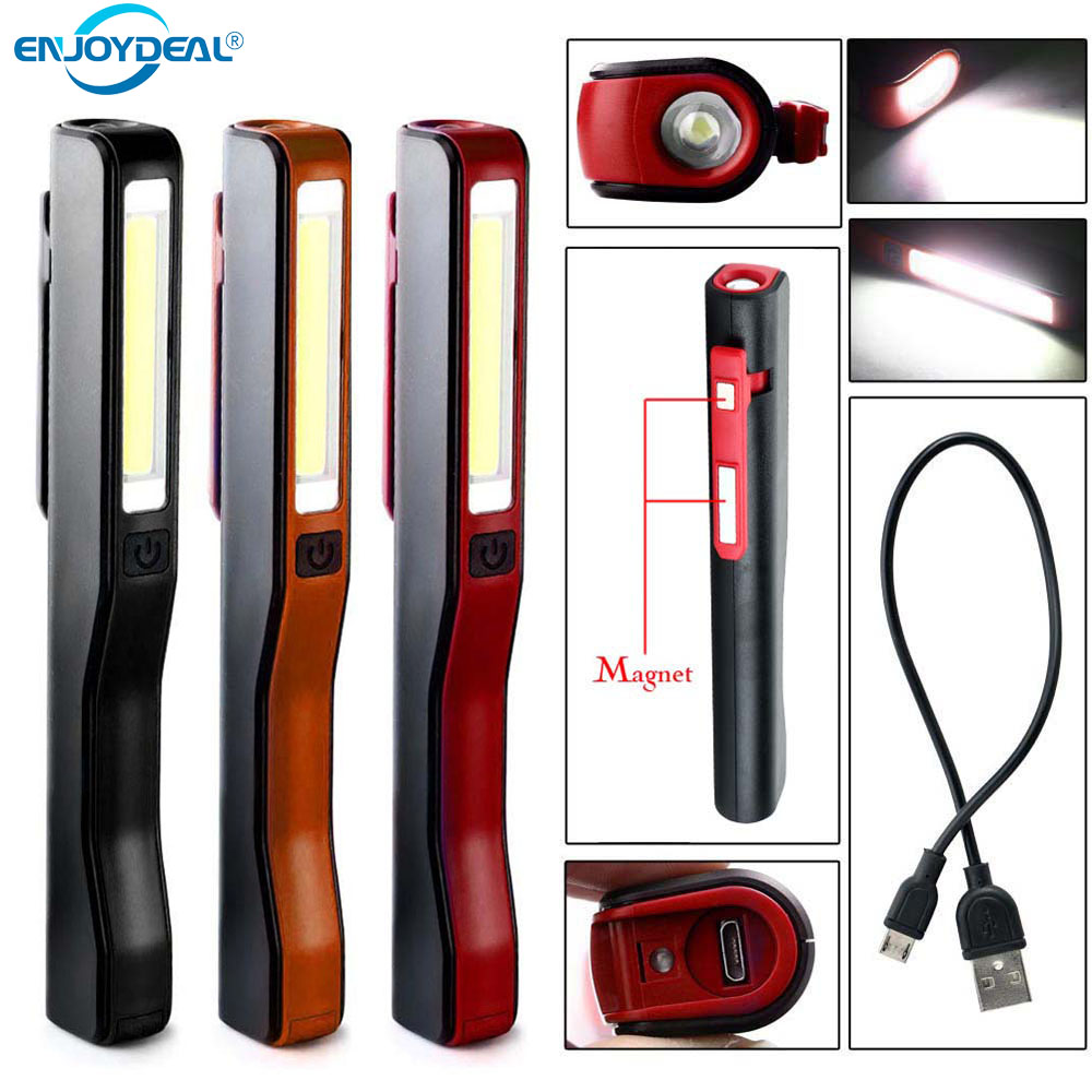 Portable COB LED Pen Light Pocket Magnetic Clip Work Torch Lamp USB Rechargeable