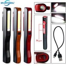 USB 충전 LED 손전등 COB 충전식 마그네틱 펜 램프 캠핑 초 롱 전술 야간 조명에 대 한 손 토치 작업 빛