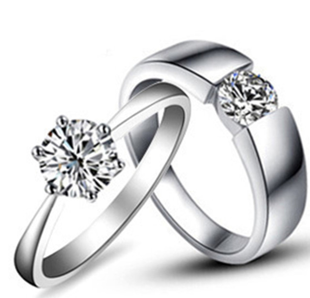 Amazing Design Real Solid 18K 750 White Gold Couple Rings Simulates