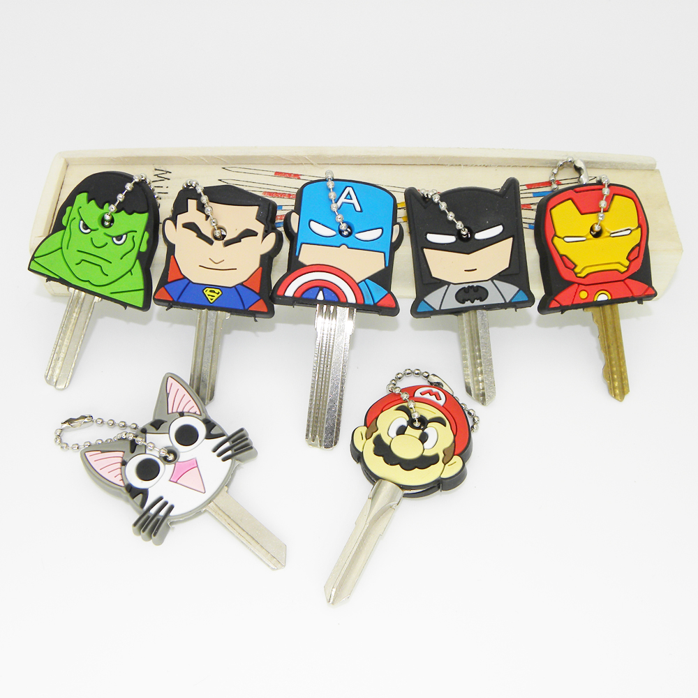 Super Hero Anime Key Cap Batman Hulk Keychain Women Bag Charm Key Holder Iron Man Key Chain Silicone Key Ring Superman Key Cover цена