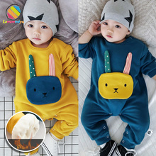 Lemonmiyu Baby Cartoon Plus Velvet Winter Rompers Cotton