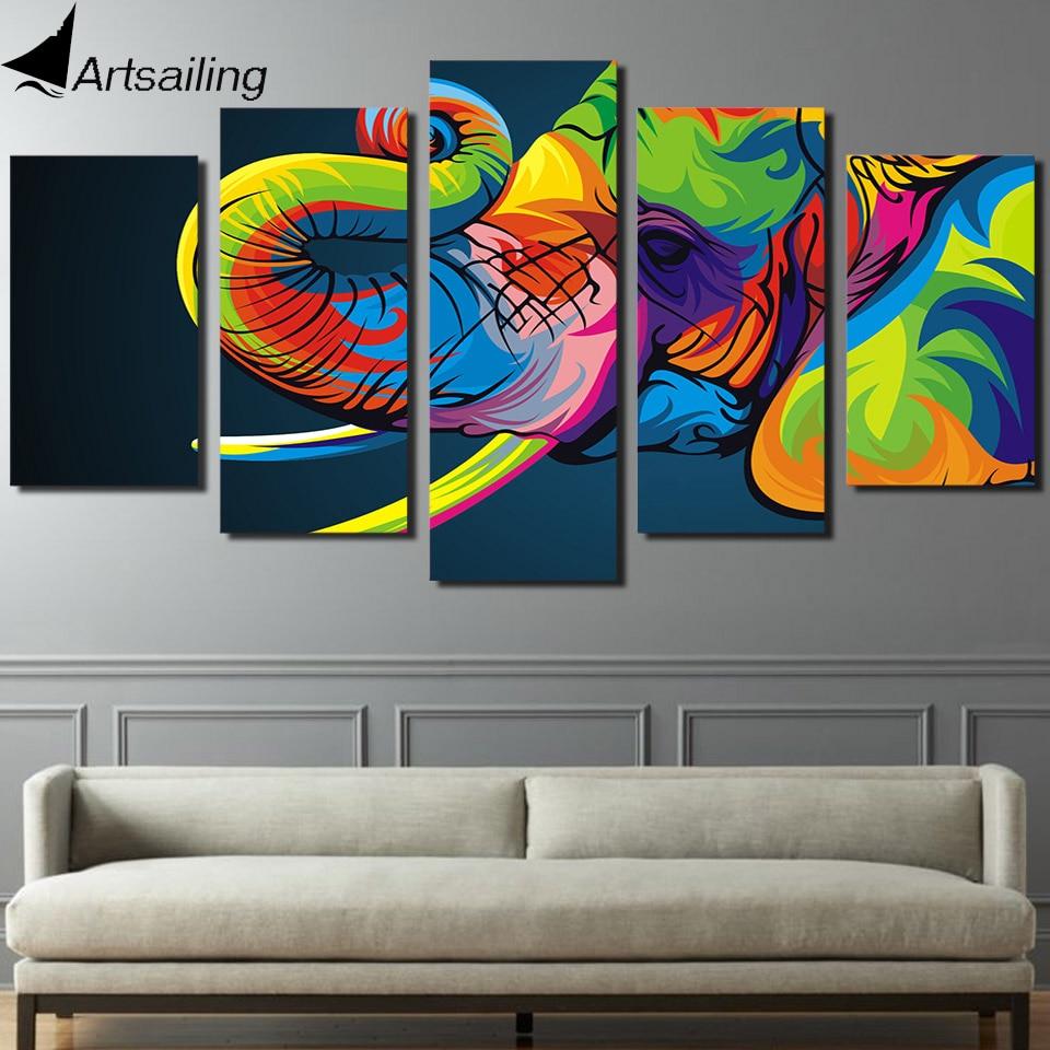 HD Impreso 5 unidades de arte de la lona Pintura colorida del - Decoración del hogar