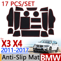 for BMW F25 X3 F26 X4 2011 2017 Anti Slip Rubber Cup Cushion Groove Mat 17pc 2012 2013 2014 2015 Accessories Car Styling Sticker