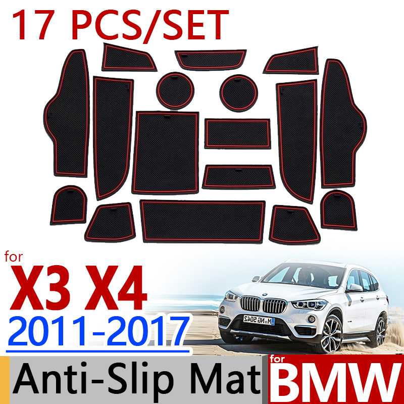 for BMW F25 X3 F26 X4 2011-2017 Anti-Slip Rubber Cup Cushion Groove Mat 17pc 2012 2013 2014 2015 Accessories Car Styling Sticker 2pcs chrome abs rear back window wiper cover trims for bmw x3 f25 2011 2015 car styling accessories