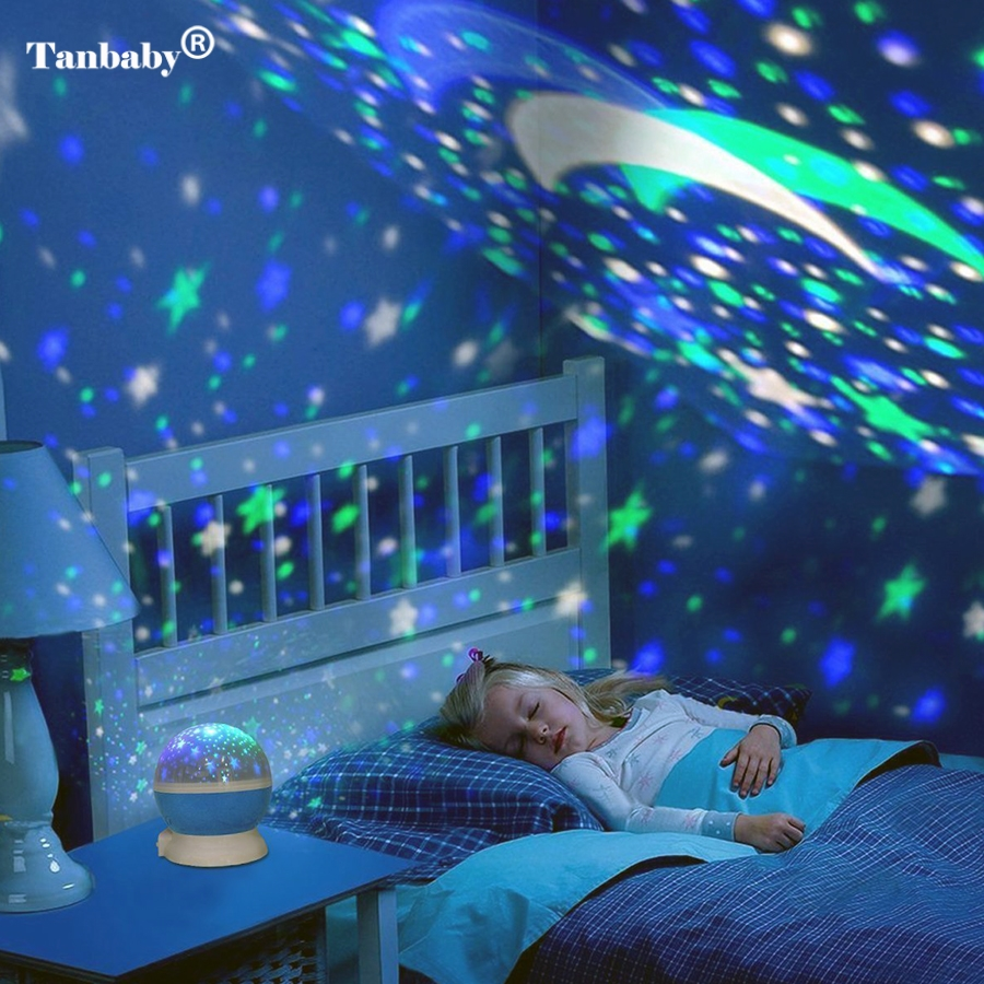 Tanbaby Star Moon Sky Auto Rotation Dream LED Night Night Romantic Projector Լամպ Պրոյեկտոր Դեկոր Երեխաներ Baby Abajur Infantil