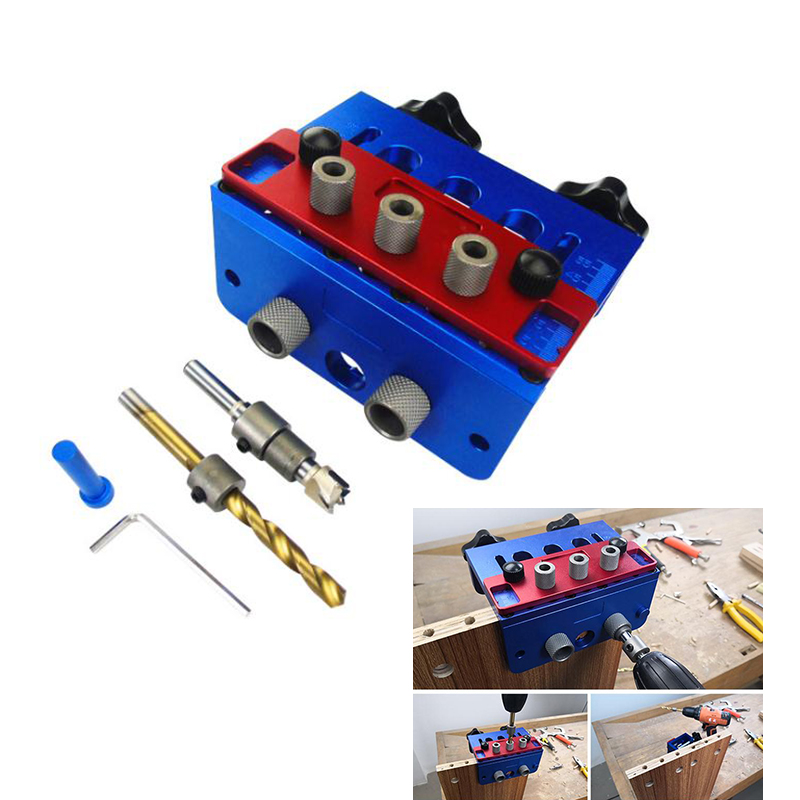 3 in 1 Punch Locator Drilling Guide Kit Woodworking High Precision Dowel Jigs Kit Tenon Hole Punchers Joinery Locator DIY Tools