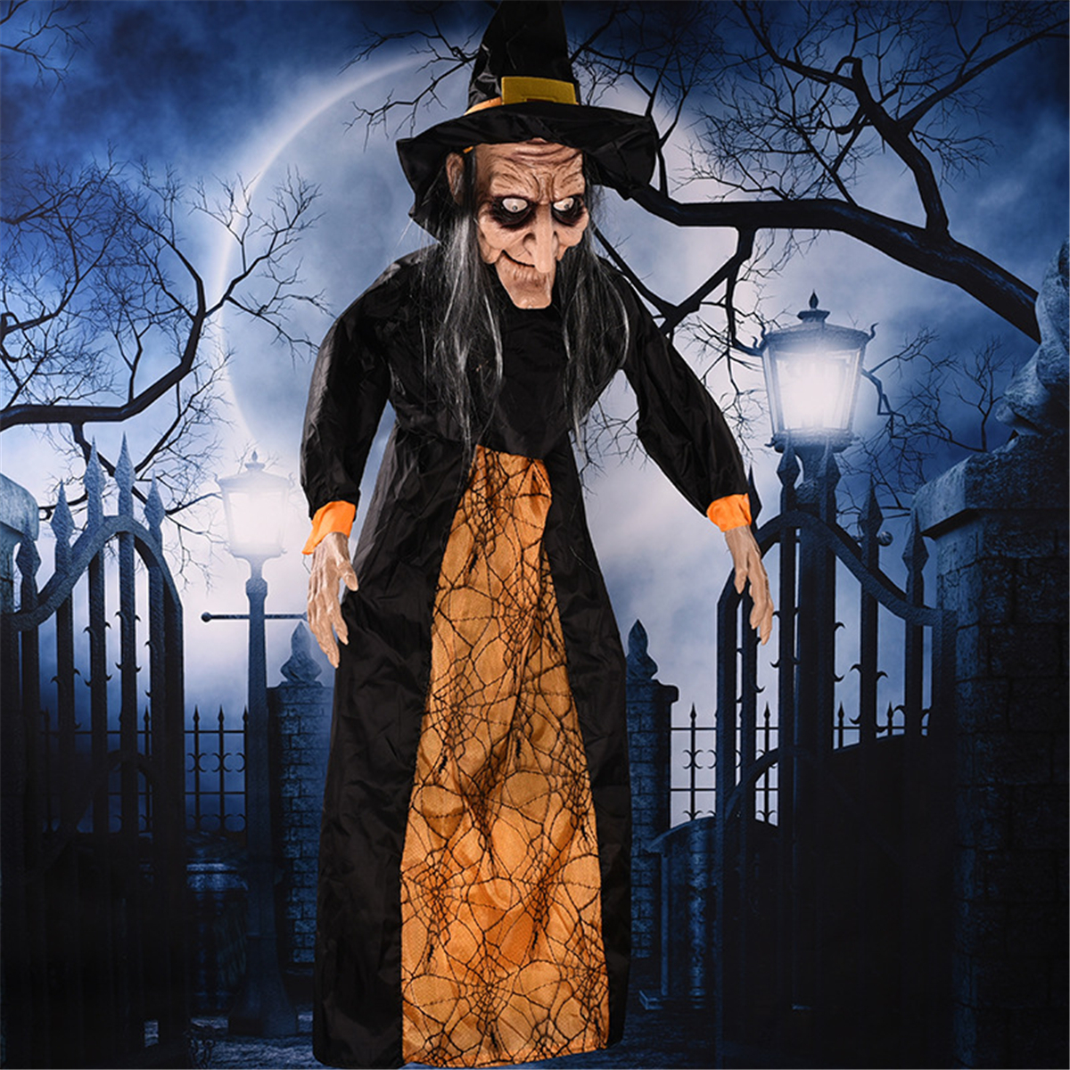 145cm Halloween Hanging Witch Animated Speaking Witch Glowing Red Eyes Voice Control Prop Haunted House Decoration