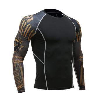 Mężczyźni kobiety Fitness z długim rękawem bielizna do jazdy na rowerze mężczyźni kulturystyka dopasowane kompresyjna koszulka termiczna MMA Workout T shirt tanie i dobre opinie gym deltoid Unisex Poliester Drukuj Oddychająca Pełna Pasuje prawda na wymiar weź swój normalny rozmiar S M L XL XXL XXXL 4XL