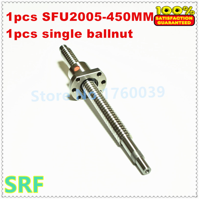 Zero Backlash 20mm Dia 2005 Rolled Ballscrew 1pcs SFU2005 Ballscrew L=450mm+1pcs single ballnut with BK/BF15 end processing zero backlash ball screws 2005 l1050mm 1pcs sfu2005 single ballnut