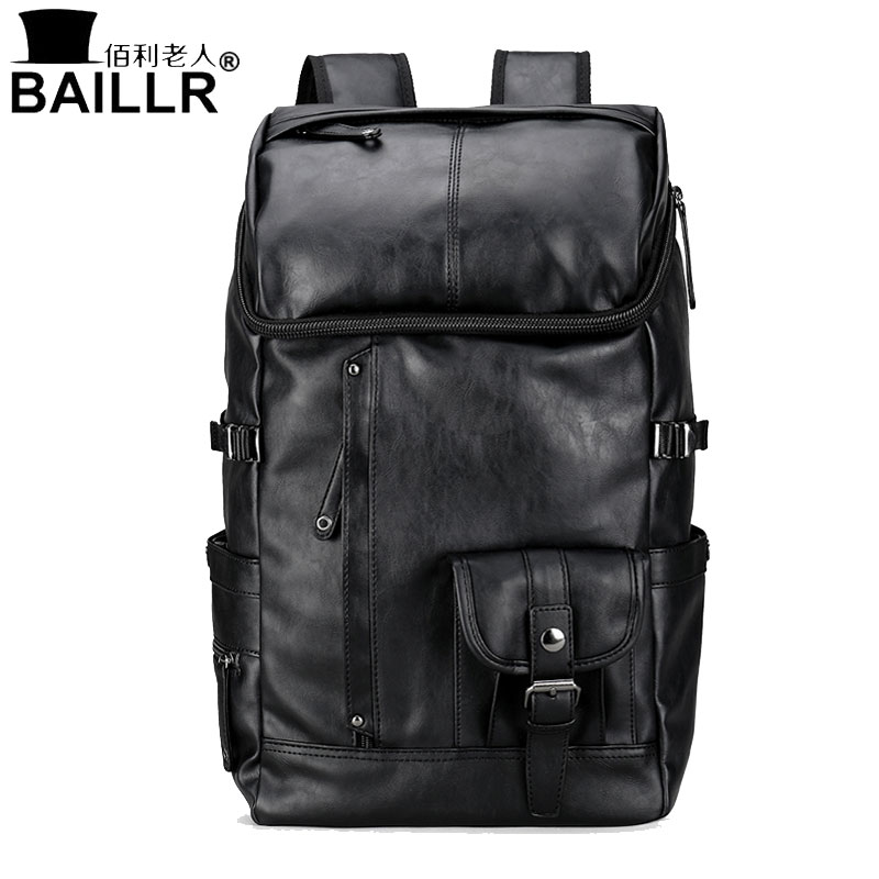BAILLR New Arrival Travel Laptop Bag Men Women Backpacks Fashion Solid School Backpack PU Leather Bags For Male Female Mochila
