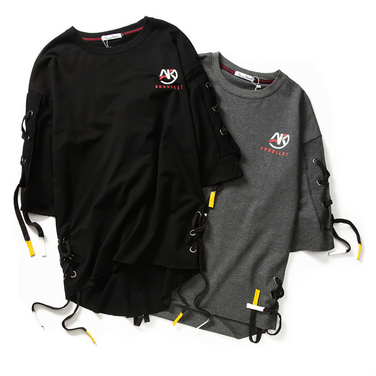 ABOORUN Men's Hip Hop T-shirt Rule Ribbons Decoration Printed Tees High Street Original Loose Short Sleeve Shirts for Male R149 32