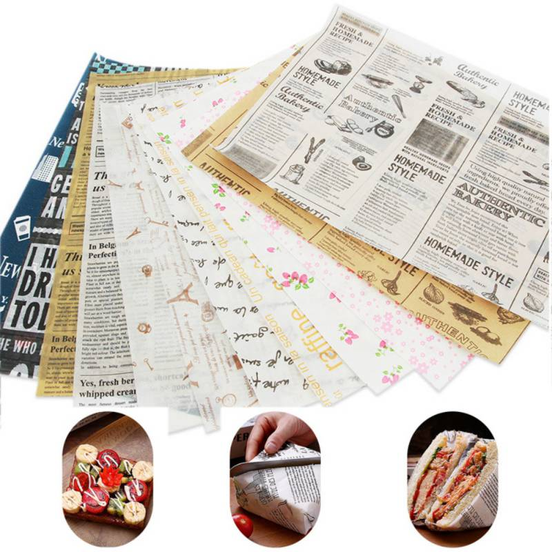 50 pcs/set Food Packing Paper Waterproof Food Wax Paper Cake Cookie Macaron Greaseproof Baking Sheet Packaging Paper