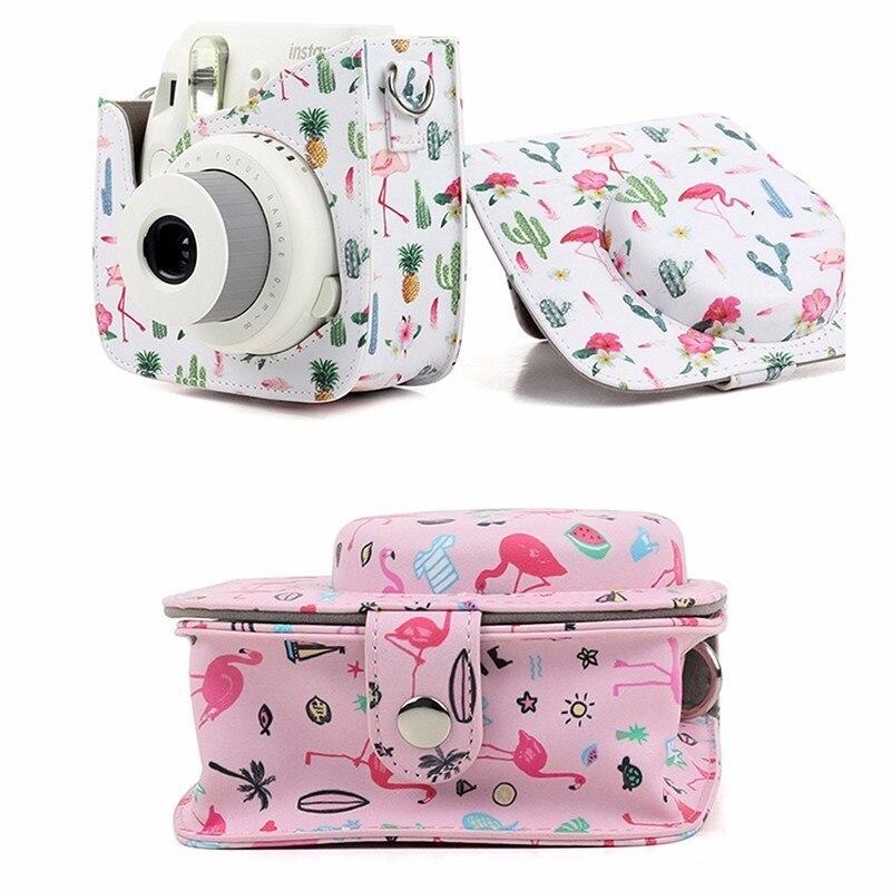 Colorido Flamingo cámara de almacenamiento para Fujifilm instax Cámara pu cuero de la cámara para Fujifilm instax mini 8/ 8 +/9