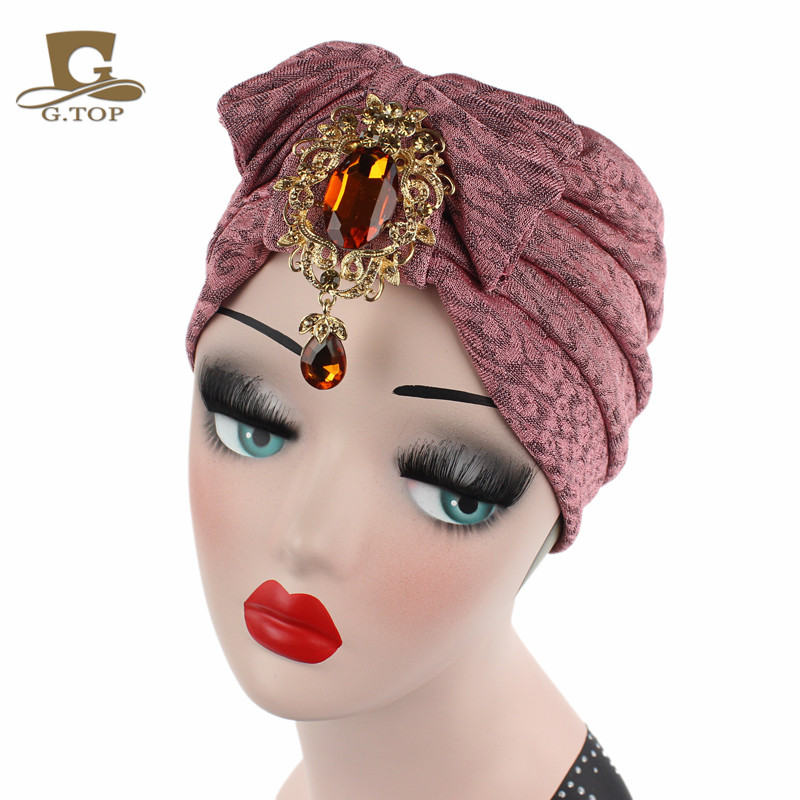 Women luxury Sparkle jeweled cotton beanie bowknot bow turban with metal  pedant Headbands Hat Turbante-in Hair Accessories from Women s Clothing ... bf565febb0da