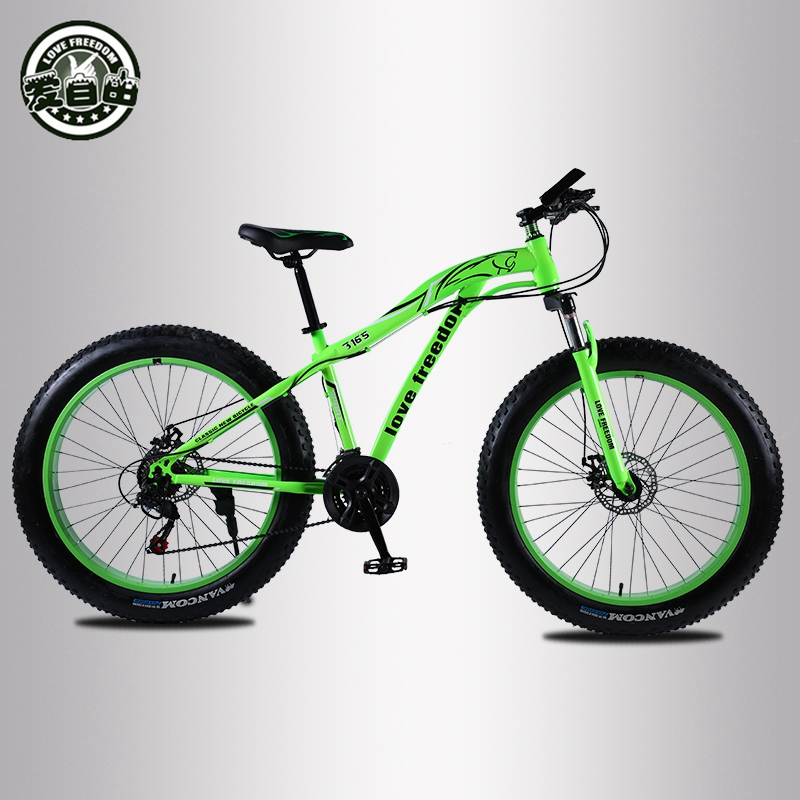 Love Freedom Mountain bike 26 4 0 Fat Tire bicycle 21 24 27 Speed Locking shock Love Freedom Mountain bike 26 * 4.0 Fat Tire bicycle 21/24/27 Speed Locking shock absorber Bicycle Free Delivery Snow Bike