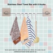 Self Adhesive Towel Rack Hanging Holder w/ 6 hooks Washcloth Bath Hooks Bathroom Storage Organizer for Washing towels