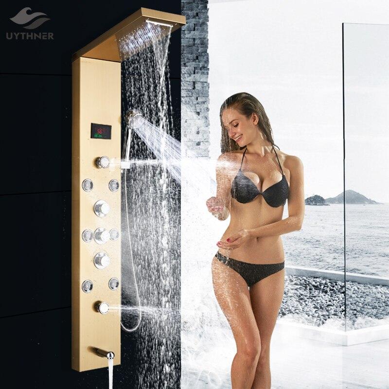 Newly LED Bath Shower Panel Golden Waterfall Rain Shower Column Faucet Digital Temperature Screen Shower System