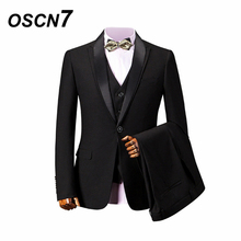 7234484fd9 OSCN7 Gentleman Tailor-made Suits Men 3 Piece Slim Fit Leisure Wedding  Party Custom Made