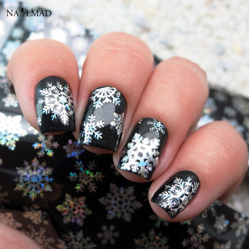 1 roll 4*100CM Holographic Snowflake Nail Foils White Snow Christmas Design Nail Art Transfer Foil Transfer Sticker Paper one bottle cute white little snowflake pattern nail sticker