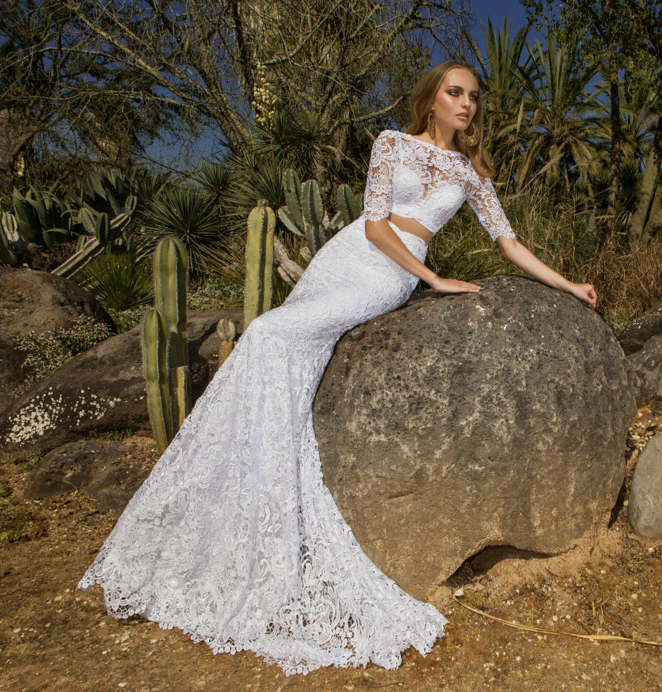 Spanish Wedding Dresses: Exquisite Spanish Two Piece White Lace Sheath Wedding