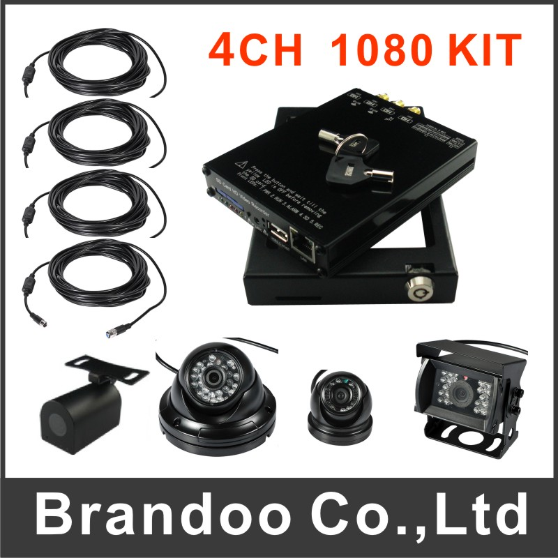 WIFI 4ch 1080P CAR DVR for school bus used, with car cameras and cables, for a complete kit