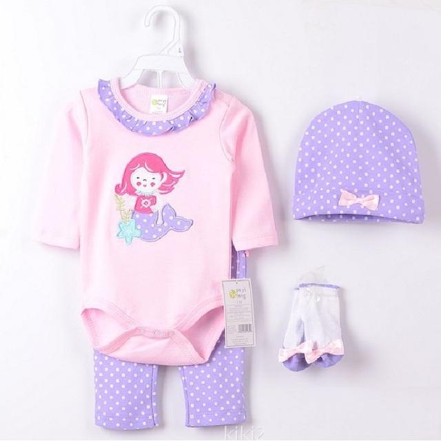 2017 Mar-Empregada Meninas Do Bebê Veste Ternos roupas ropa de bebe Roxo Dot bebê da menina roupa Do Bebê Bodysuit 100% Algodão