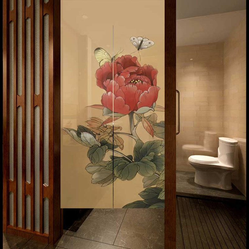 half curtain hot sale butterfly peony pattern traditional chinese door curtain for living room e 009