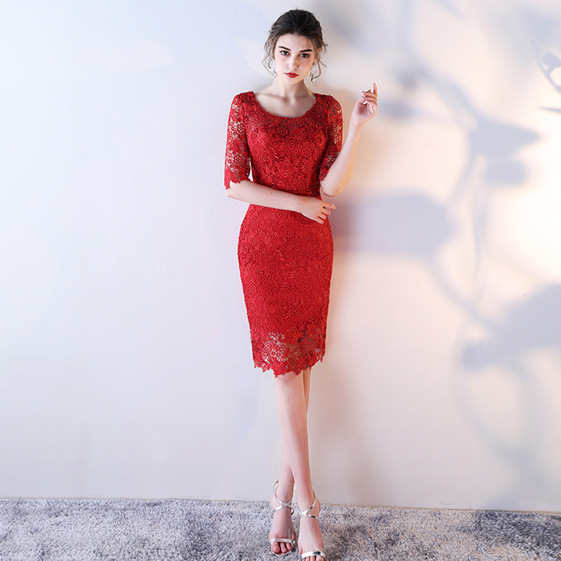 Cheap Chinese Elegent Plus Size Lace Mermaid 2018 Celebrity Dresses vestido de festa Sirene Red Carpet Dresses Barato Vestido