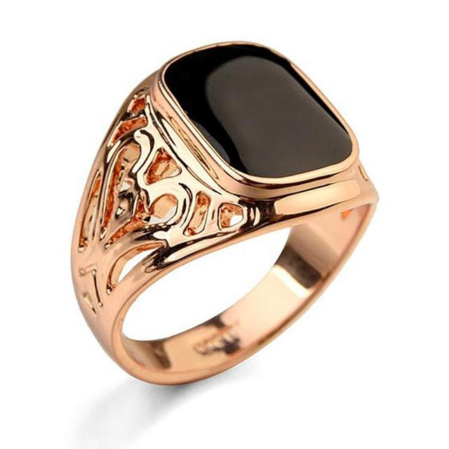 New Fashion Mens Rings Silver Gold Rose Gold Colors Carved Stone