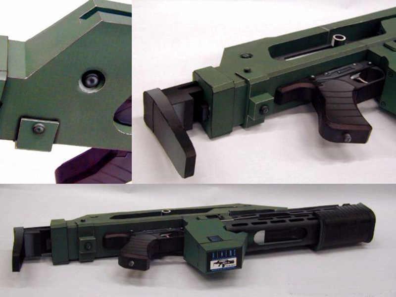 Modle z papieru do samodzielnego wykonania Alien 3 broni M41-karabin pulsacyjny prace ręczne z papieru ręcznie robiona zabawka chłopak urodziny boże narodzenie prezent
