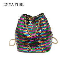EMMA YHBL  Sequined belt bucket bag new chain with a small shoulder bag personality shiny purse slung lady handbag kafvnie children handbag girl shoulder bag fashion flower rivet glitter metal chain bucket kid flap bag shiny party baby purse