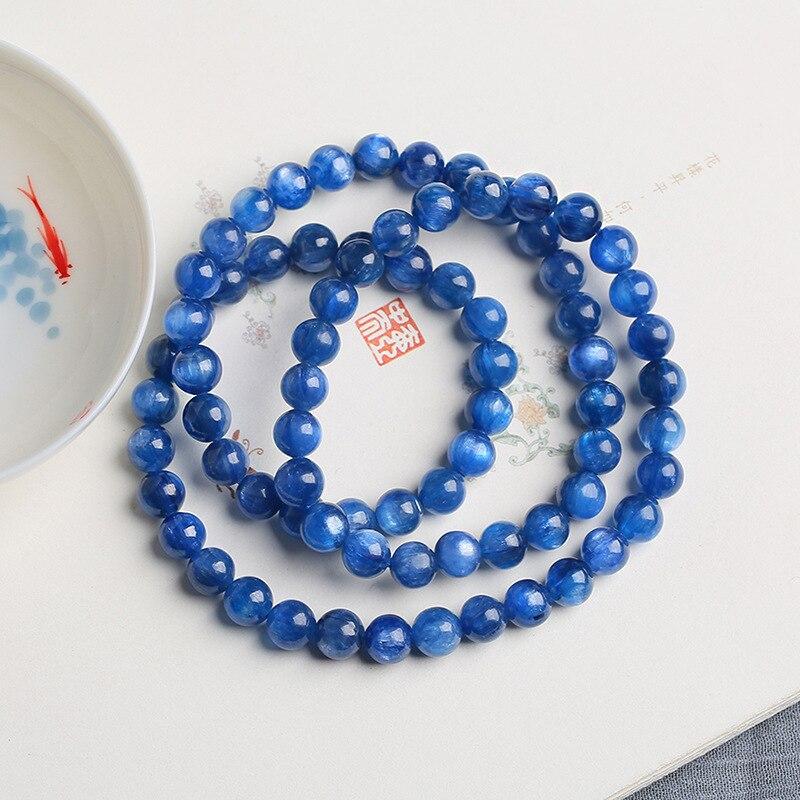 Livraison directe Bracelets en pierre naturelle bleue ronde 5mm perles rondes Bracelet chanceux pour les femmes Bracelet en cristal bijoux