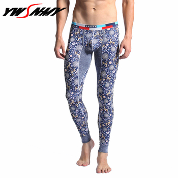 High quality thermal underwear 100% cotton Leggings brand men long johns fashion printing homme Autumn winter pants warm Pajamas
