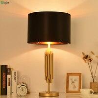 Современный блеск металла золота светодиодные Настольная лампа Luminaria черный Ткань Спальня Светодиодные Настольные светильники свет табли