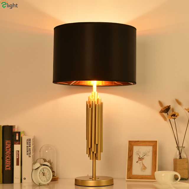 Moderne Glanz Gold Metall Fuhrte Tischleuchte Luminaria Schwarz