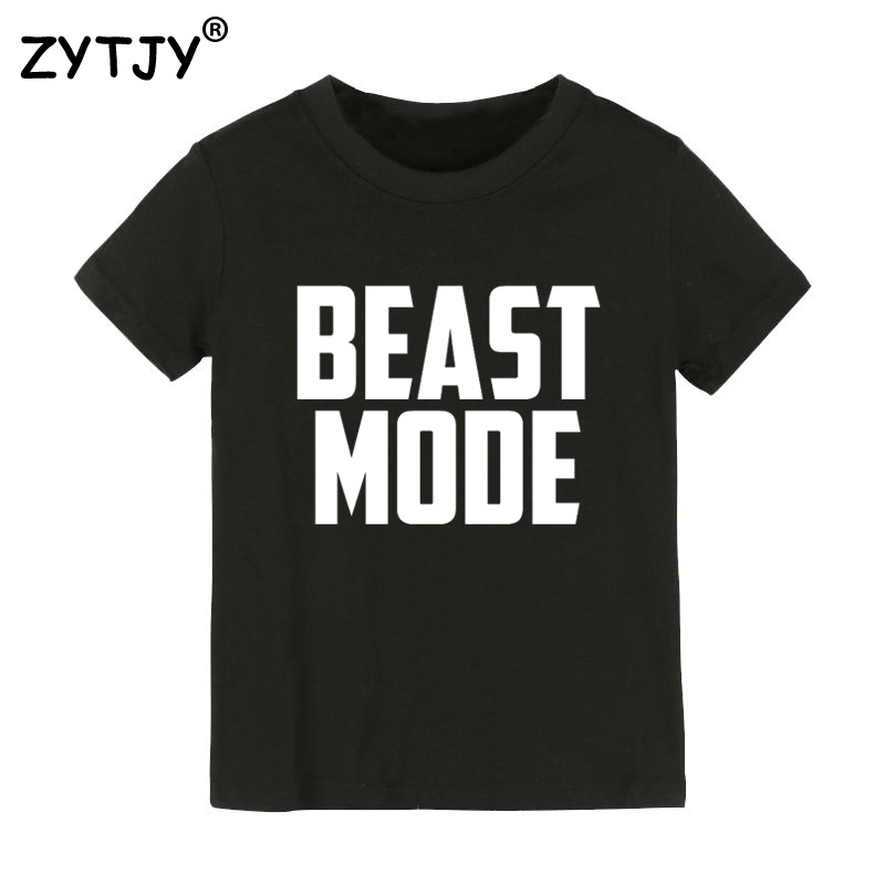 BEAST MODE Letters Print Kids tshirt Boy Girl t shirt For Children Toddler Clothes Funny Top Tees Drop Ship Y-59 женская футболка other 2015 3d loose batwing harajuku tshirt t a50