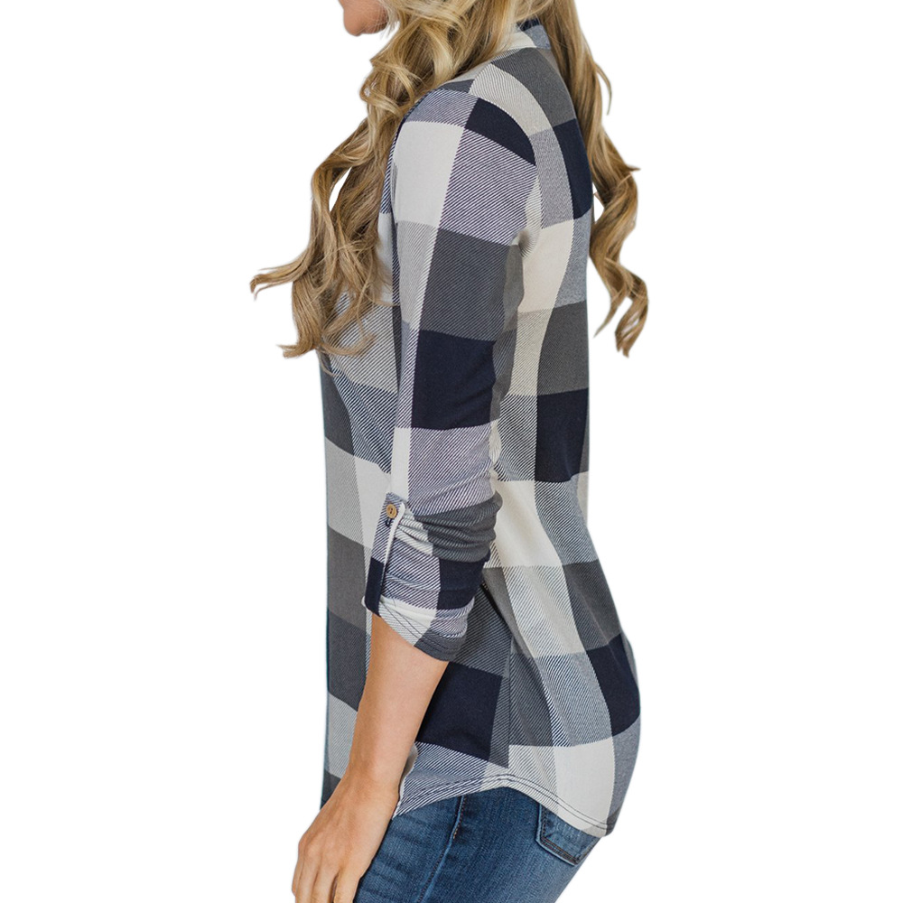 V-neck Blouse Women Long Sleeve Plaid Shirt Top Spring Autumn Casual Office Blouse Blusas Mujer De Moda 2018 Blouses Feminine9