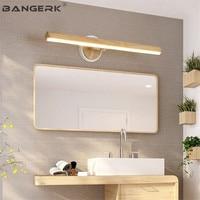 Простой современный ванная светодио дный комната светодиодный настенный светильник Зеркало бра лампа дерево Лофт можно регулировать дома