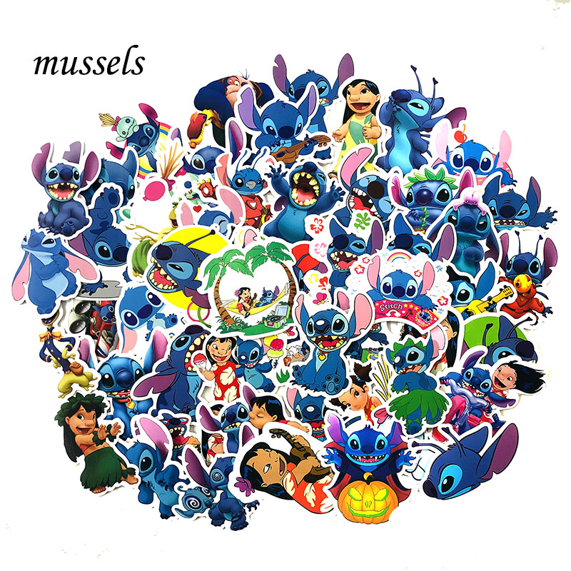 55Pcs Lovely Lilo Stitch Stationery DIY Cute Cartoon Scrapbooking Stickers ForGuitar Skateboard Computer Laptop Luggage