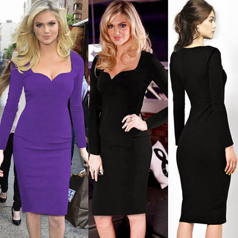 09628af45d9ef Formal Women Wear to Work Office Business Wiggle Pencil Bodycon Evening  Party Midi Tunic Long Sleeve Dress Y687-in Dresses from Women's Clothing on  ...