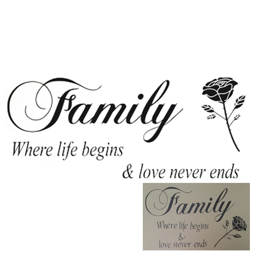 SFDC-Family + Rose Flower stickers Fashion stickers for home deco vinyl Black