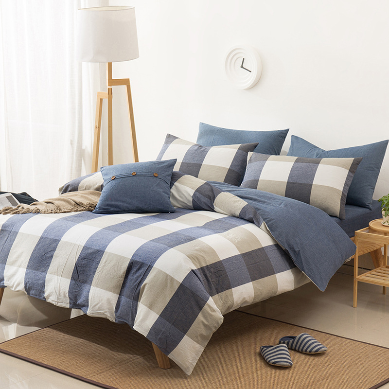 2018 new cotton classic geometric and solid suite bedding set duvet cover set