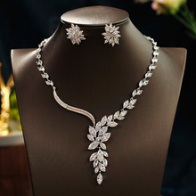 Women  Crystal Novel branches and leaves style Bridal Jewelry Sets Earrings Necklace Wedding Jewelry Accessories