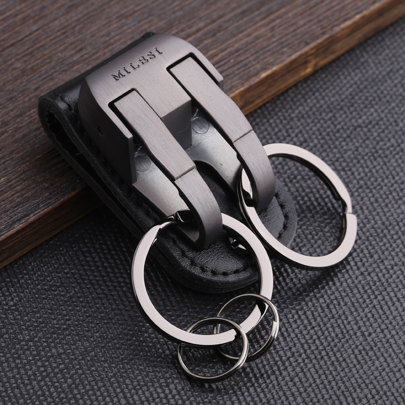Milesi Brand Men KeyChain Belt Clip Pull Auto Lock Key Chain Double Ring Men Car Key Holder Novelty Trinket Genuine Leather gift
