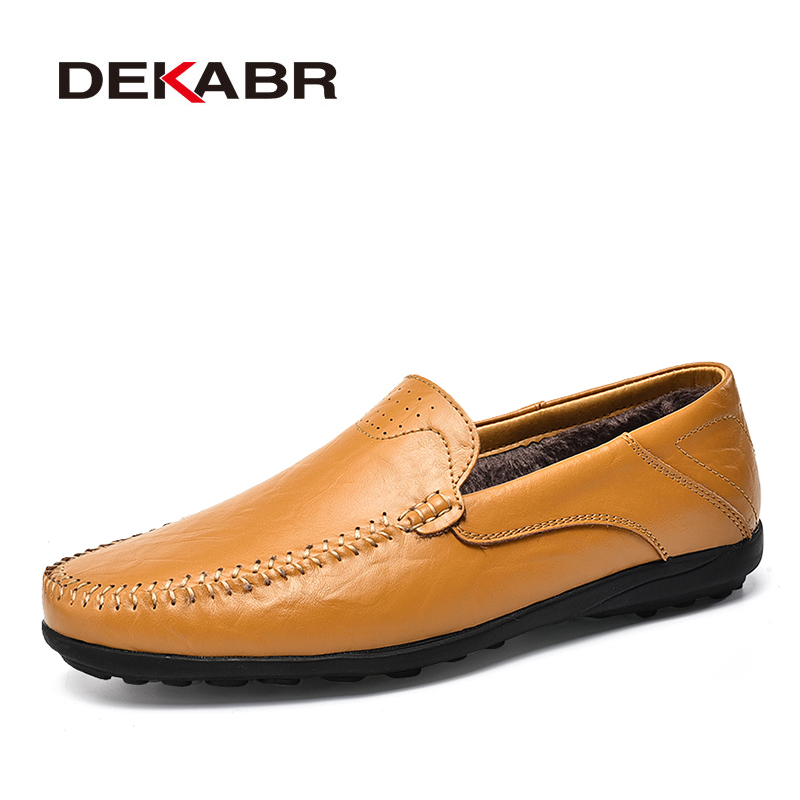 DEKABR New Arrival Autmn Winter Men Loafers Leather Warm Men Casual Shoes Men's Flats Driving Shoes Soft Moccasins Boat Shoes