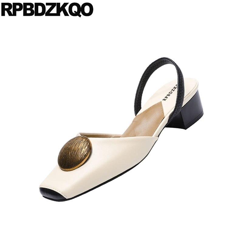 Zapatos Verano 4 Grueso Gruesa Sandalias Resbalón 2018 Tamaño Retro Elegante Pie Bajo Correa Vintage Tacón Cuadrado En 34 Dedo Damas Del De Beige ZAwqSRAxEB