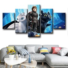 5 Piece Cartoon Movie Poster How To Train Your Dragon 3 The Hidden World Pictures Canvas Painting Modern Wall Art for Home Decor