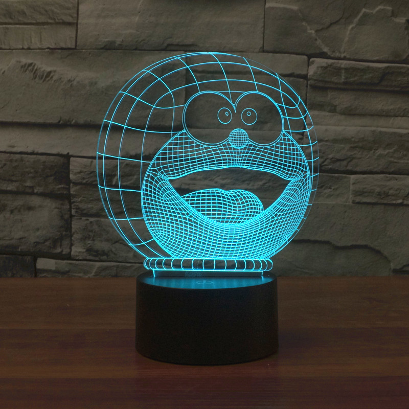 2016 new A Doraemon 3D lamp LED lamp decorative colorful touch visual atmosphere lamp